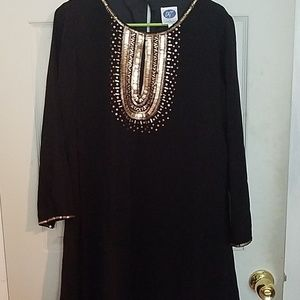 Dg2 black swing dress with gold embellishment